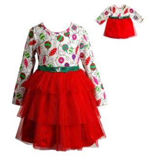 Girls 4-14 Dollie & Me Ornament Dress Set