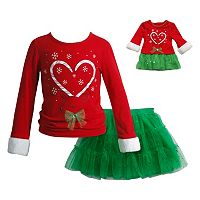 Girls 4-14 Dollie & Me Candy Cane Reindeer Top & Skirt Set