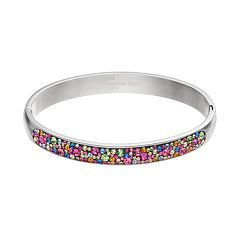 Confetti Stainless Steel Crystal Hinged Bangle Bracelet