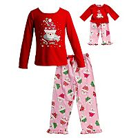Girls 4-14 Dollie & Me Santa Cupcake Pajama Set