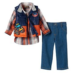 Baby Boy Boyzwear Plaid Shirt, Puffer Vest & Jeans Set