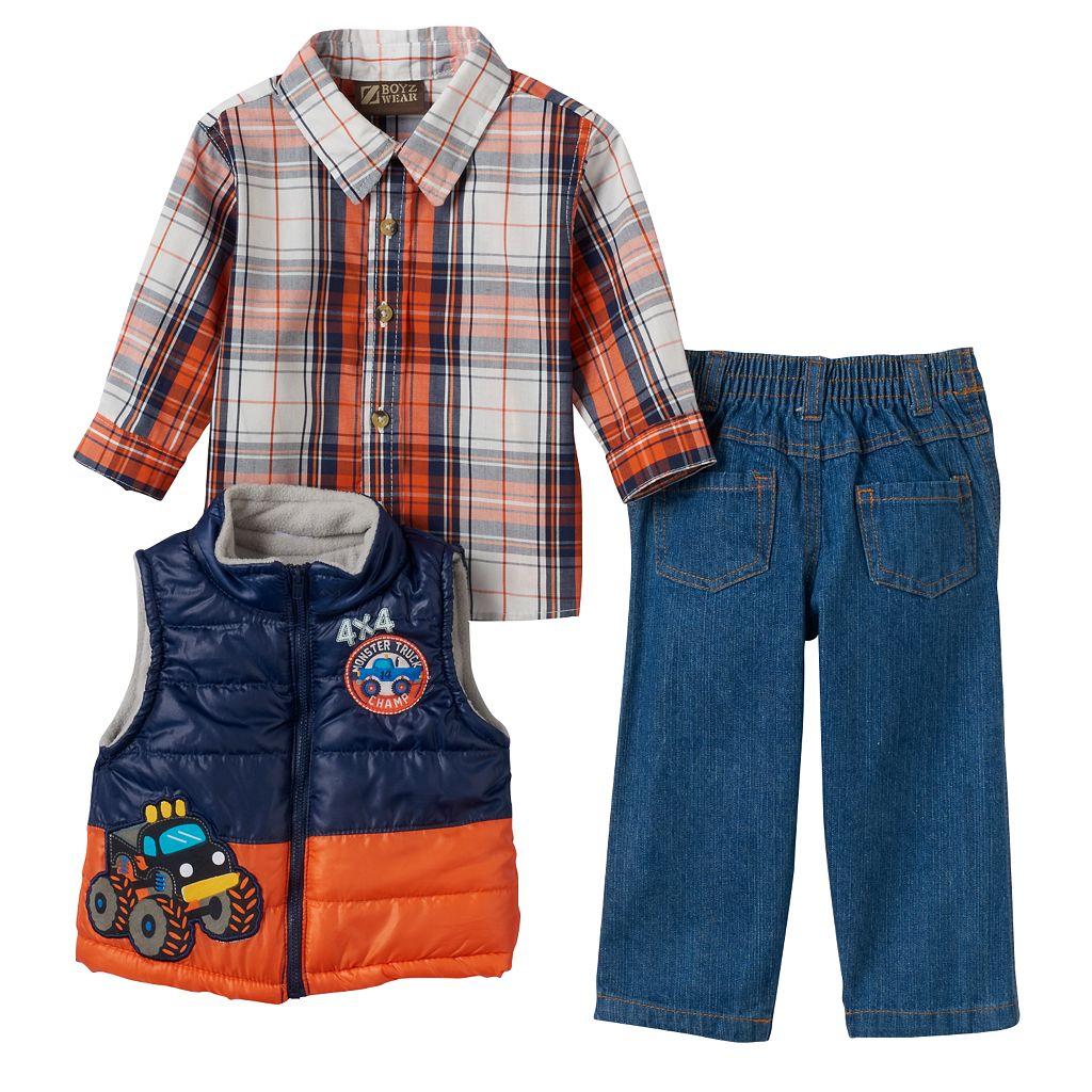 Baby Boy Boyzwear Plaid Shirt, Puffer Vest & Jeans Set