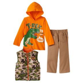 Baby Boy Boyzwear Camouflage Vest, Hooded T-Rex Tee & Pants Set