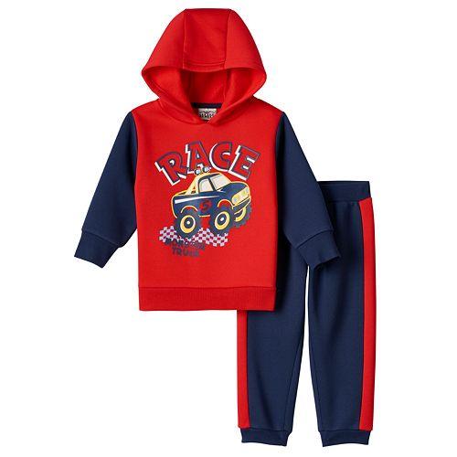 Baby Boy Boyzwear Monster Truck Fleece Hoodie & Pants Set