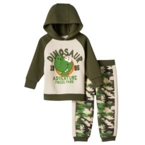 Baby Boy Boyzwear Dinosaur Fleece Hoodie & Pants Set