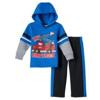 Baby Boy Boyzwear Firetruck Fleece Hoodie & Pants Set