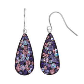 Confetti Purple Crystal Teardrop Earrings