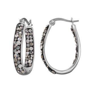 Confetti Gray Crystal Inside Out U-Hoop Earrings