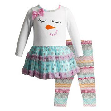 Girls 4-6x Youngland Snowman Tulle Dress & Fairisle Leggings Set