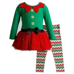 Girls 4-6x Youngland Elf Glitter Dress & Chevron Leggings Set