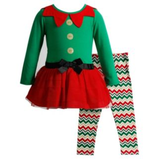 Girls 4-6x Youngland Elf Glitter Dress & Chevron Leggings Set