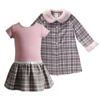 Toddler Girl Youngland Metallic Plaid Skirt Dress & Faux-Fur Trim Plaid Jacket Set