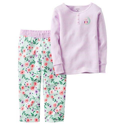 b3baf1d59434 Girls 4-14 Carter s Striped Owl Pajama Set