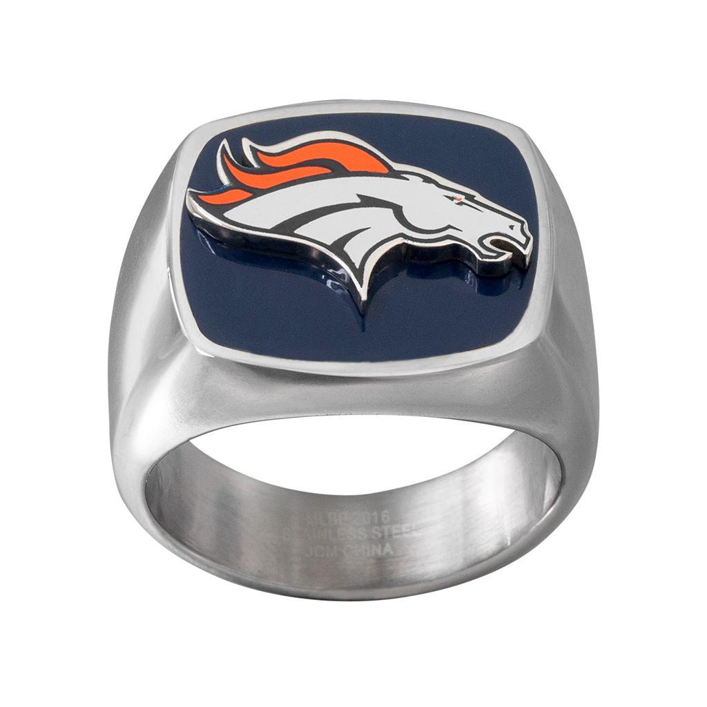 Men's Stainless Steel Denver Broncos Ring