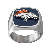 Men's Stainless Steel Denver Broncos Ring