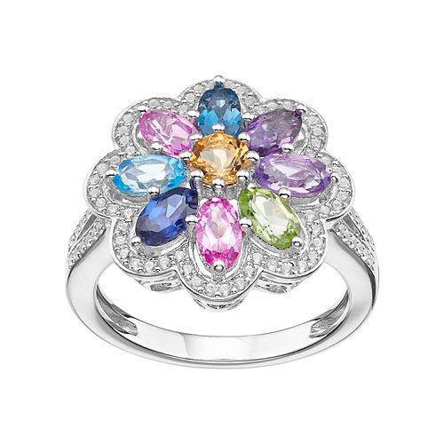 Sterling Silver Gemstone Flower Ring