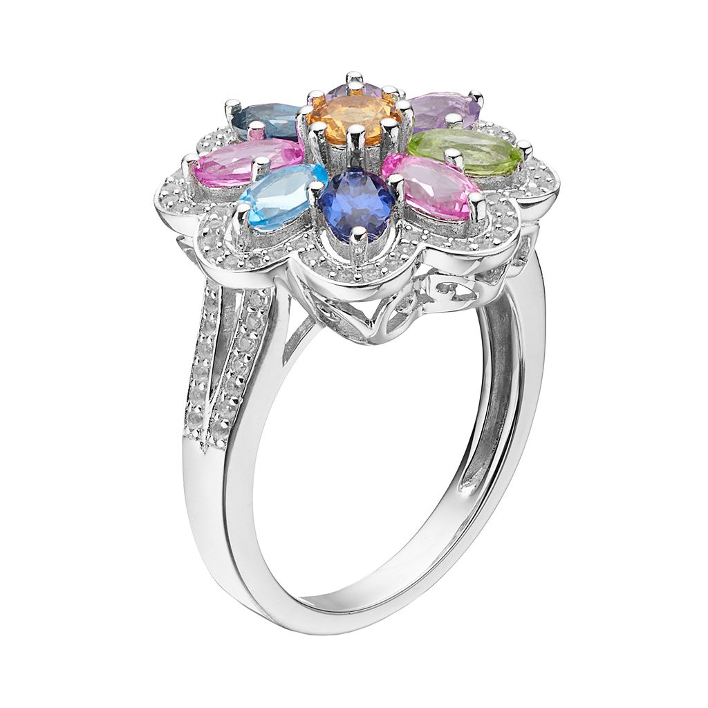 Sterling Silver Gemstone Flower Ring