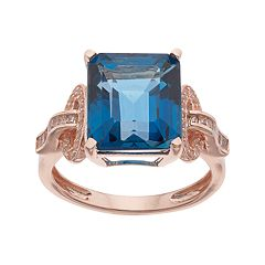 Sterling Silver London Blue Topaz & Lab-Created White Sapphire Ring