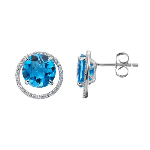 Sterling Silver Blue Topaz & Lab-Created White Sapphire Circle Stud Earrings