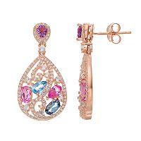 Sterling Silver Lab-Created Gemstone Teardrop Earrings