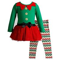 Baby Girl Youngland Glitter Elf Dress & Chevron Leggings Set