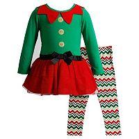 Baby Girl Youngland Glitter Elf Dress & Chevron Leggings Set