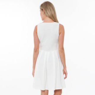 Women's White Mark Pleated Fit & Flare Dress