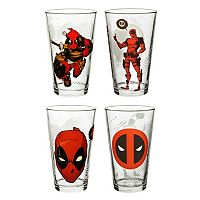 Marvel Universe Deadpool 4-pc. Pint Glass Set by Zak Designs