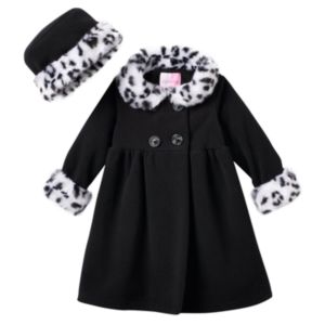 Baby Girl Sophie Rose Faux-Fur Fleece Swing Coat & Hat Set