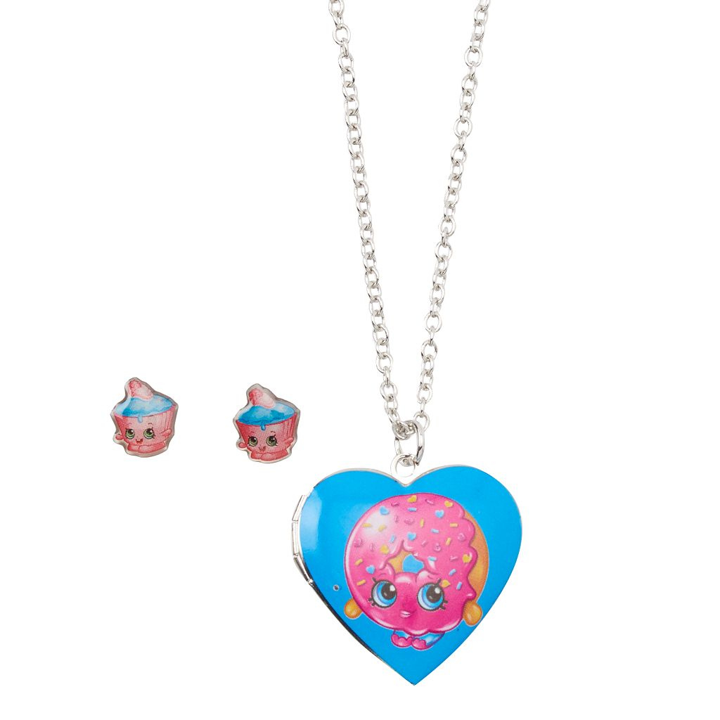 Girls Shopkins 2-pk. Cupcake Chic & D'Lish Donut Locket Necklace & Earrings Set