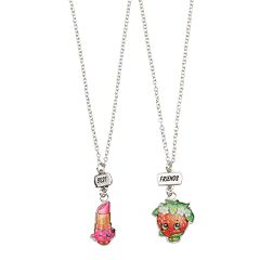 Girls Shopkins 2 pkBest Friends BFF Lippy Lips & Strawberry Kiss Necklace Set