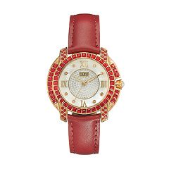 burgi Women's Diamond & Crystal Leather Watch