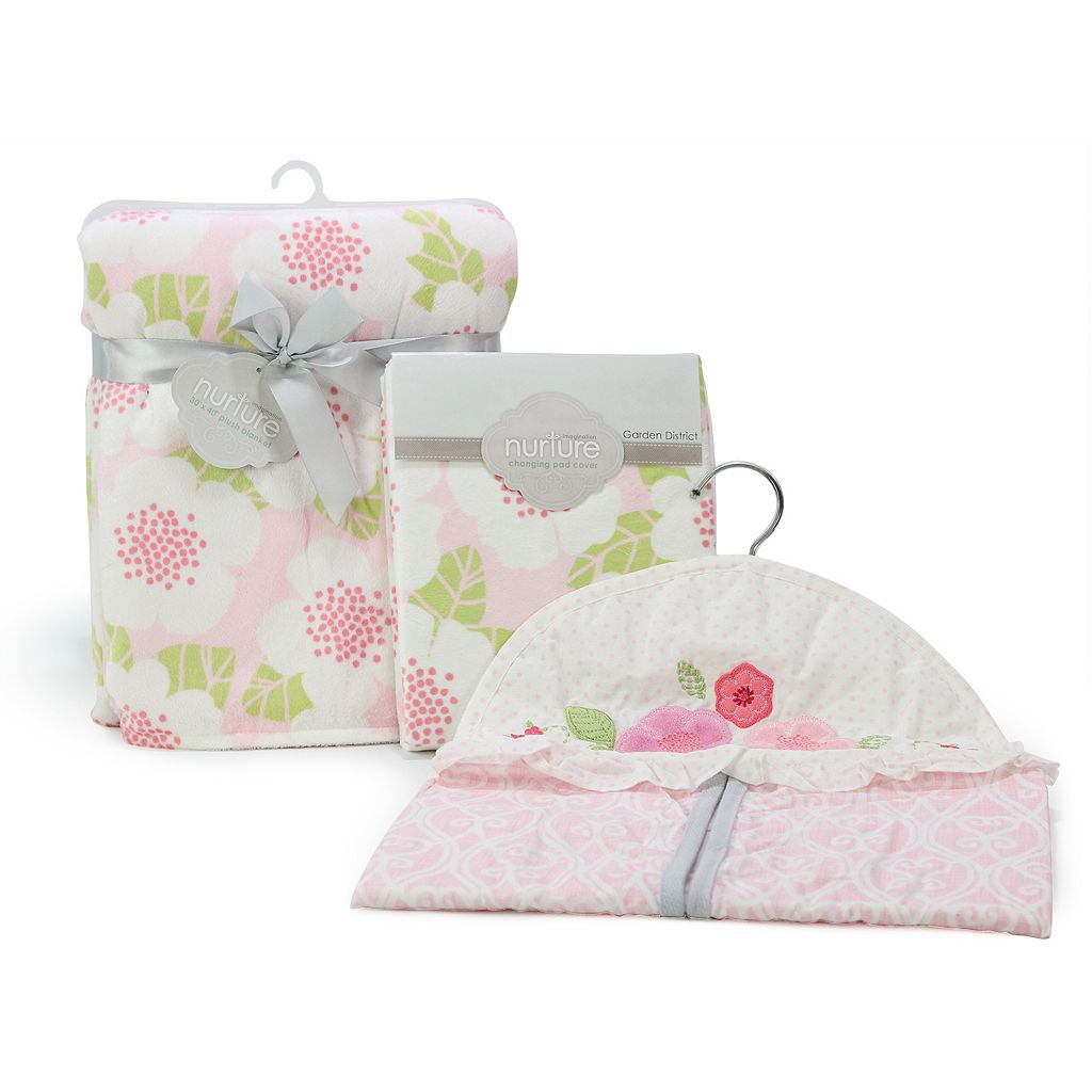 Nurture Garden District Plush Baby Blanket, Changing Pad Cover and Diaper Stacker Nursery Set