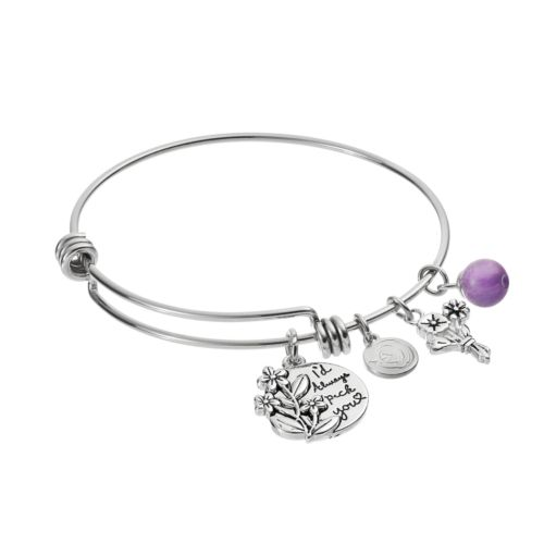 "love this life Amethyst ""Daughter"" Flower Charm Bangle Bracelet"