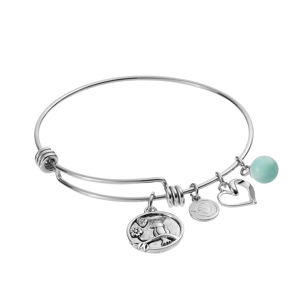 love this life Amazonite Bird Charm Bangle Bracelet