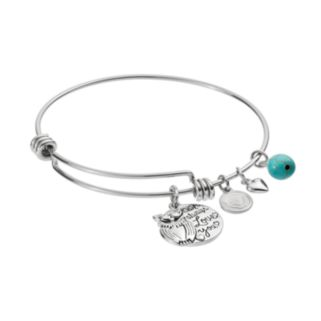 """love this life Simulated Turquoise Owl """"Love"""" Charm Bangle Bracelet"""