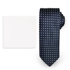 Steve Harvey Natte Woven Tie & Solid Pocket Square