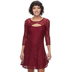 Juniors' Almost Famous Lace Cutout Skater Dress