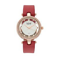 burgi Women's Diamond & Crystal Leather Swiss Watch