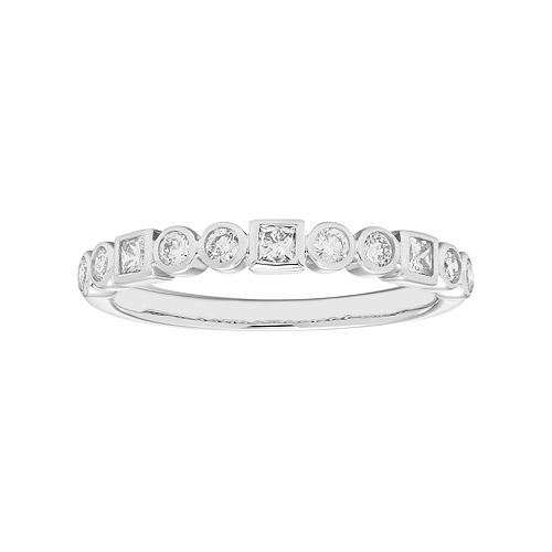 14k White Gold 1/3 Carat T.W. Diamond Stack Ring