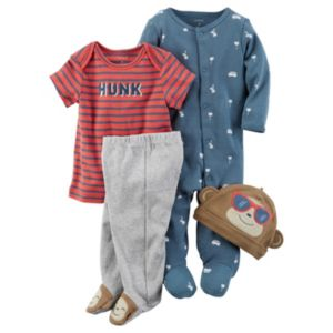 Baby Boy Carter's Print Sleep & Play, Tee, Footed Pants & Monkey Hat Set