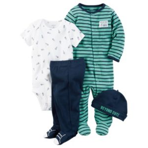 Baby Boy Carter's Striped Sleep & Play, Spaceship Bodysuit, Footed Pants & Hat Set