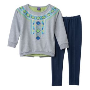 Girls 4-6x Only Kids Apparel Tribal Necklace Tunic & Faux-Denim Knit Leggings Set
