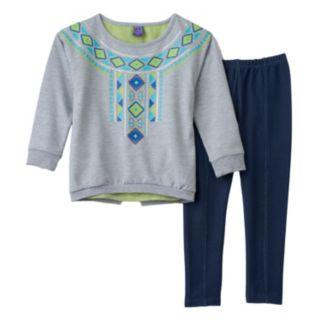 Girls 4-6x Only Kids Apparel Tribal Necklace Tunic & Faux-Denim Knit Leggings Set