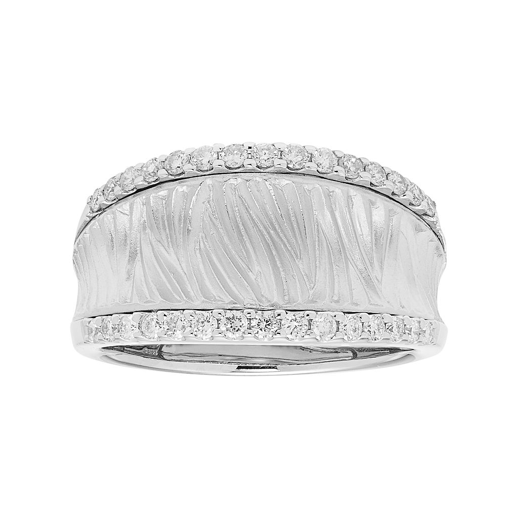 14k White Gold 3/8 Carat T.W. Diamond Textured Concave Ring