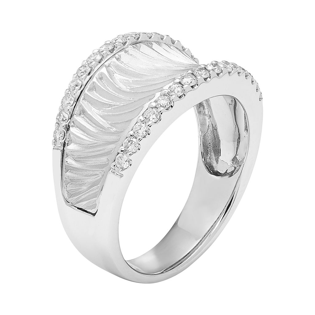 14k White Gold 3/8 Carat T.W. Diamond Textured Concave Ring