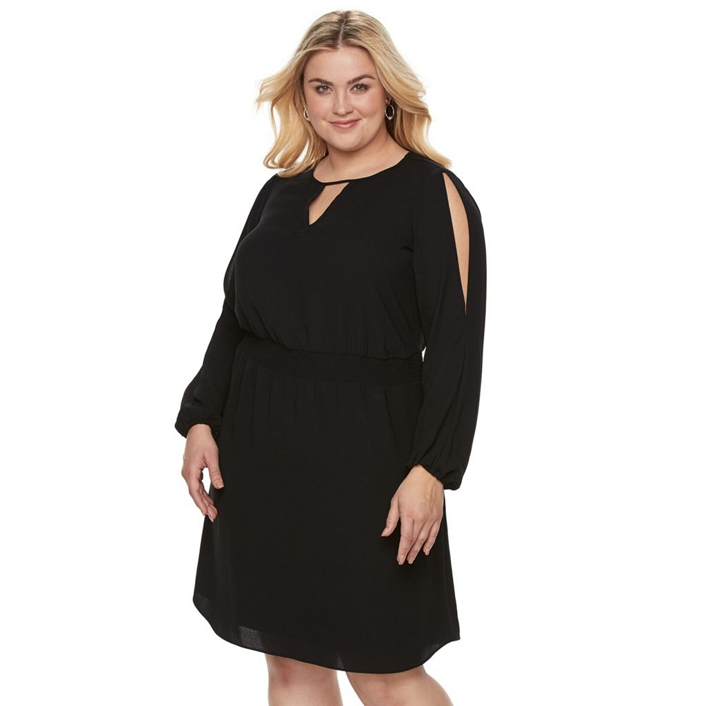 Plus Size Apt. 9® Cold-Shoulder Crepe Dress