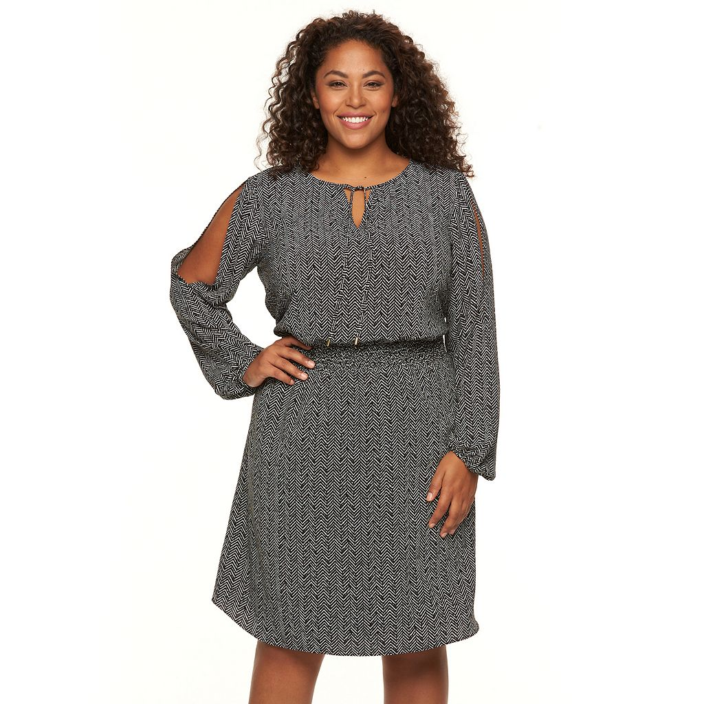 Plus Size Apt. 9® Cold-Shoulder Crepe Dress