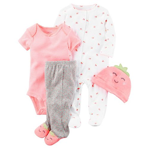 c3081f3ec9163 Baby Girl Carter's Strawberry Sleep & Play, Striped Bodysuit, Polka ...