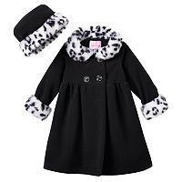Toddler Girl Sophie Rose Faux-Fur Fleece Swing Coat & Hat Set